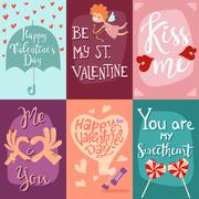 Happy Valentines Day greeting cards vector illustration Stock Illustration