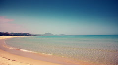 Beach with transparent water in Sardinia Stock Footage