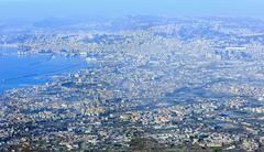 Morning hazy top view of Naples city (Italy). Stock Photos