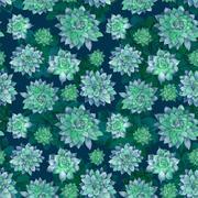 Dark Forest Succulent Pattern - stock illustration