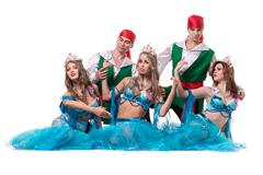 Carnival dancer team dressed as mermaids and pirates.  Isolated on white - stock photo