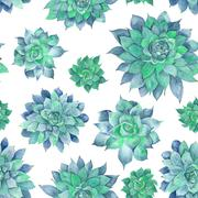 Watercolor Turquoise Succulent Pattern - stock illustration