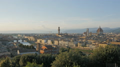 afternoon wide view of the duomo and ponte del vecchio, florence - stock footage
