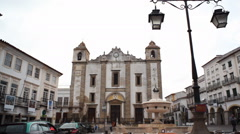 Main square in small Portuguese town, tilt down, Evora, Portugal Stock Footage