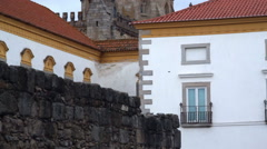 Tilt up to old cathedral tower, Evora, Portugal Stock Footage