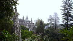 Quinta da Regaleira palace estate in the clouds, Sintra, Portugal Stock Footage