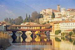 The Ponte Vecchio in Bassano del Grappa - stock photo