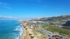 Haifa's southern entrance with mount Carmel and the mediterranean sea Stock Footage