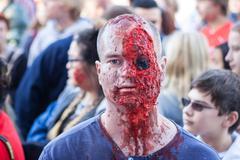 Man Dresses Like Zombie Missing Eyeball At Georgia Halloween Festival Stock Photos