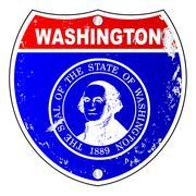 Washington Flag Icons As Interstate Sign - stock illustration
