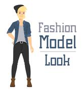 Beautiful vector cartoon fashion boy model constructor  look standing over white Stock Illustration