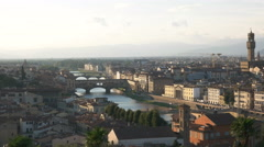Panning shot of the duomo and ponte del vecchio, florence Stock Footage