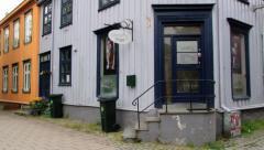 Historical wooden buildings in Trondheim, Norway. Stock Footage