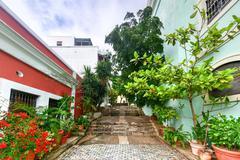 Alleyway in Old San Juan, Puerto Rico - stock photo