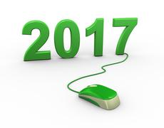 3d mouse attached to new year 2017 - stock illustration