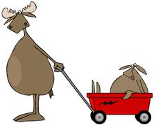 Moose pulling baby in wagon - stock illustration