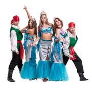 Carnival dancer team dressed as mermaids and pirates.  Isolated on white Stock Photos