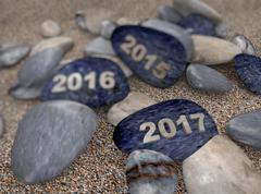 3d pebble on sand year 2017 - stock illustration