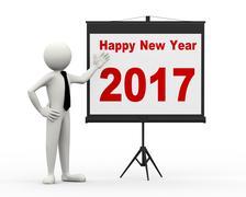 3d businessman 2017 tripod projector presentation - stock illustration