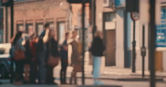 Anonymous crowd of people walking  commuters London City street slow motion Stock Footage