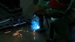 Welding Sparks High Angle Stock Footage