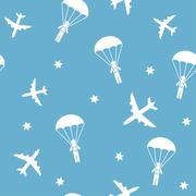 Cartoon Airplane seamless pattern, vector background with parachutists - stock illustration