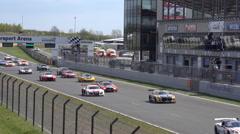 4k GT Masters racing motorsport flying start first lap - stock footage