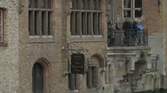 Tilt view of hotel Relais Bourgondisch Cruyce in Bruges Stock Footage