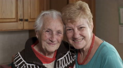 portrait of  a smiling couple of women, mature - stock footage