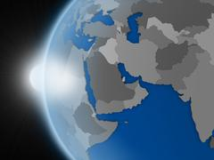 Sunset over middle east region from space - stock illustration