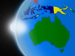 Sunset over Australian continent from space Stock Illustration