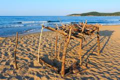 Summer sandy beach in Bulgaria. - stock photo