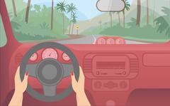 Travel by car to the exotic island. Stock Illustration