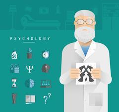 Adult men in a white coat psychologist. - stock illustration