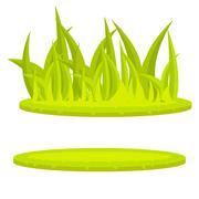 Grass lawn green cartoon vector clip art - stock illustration