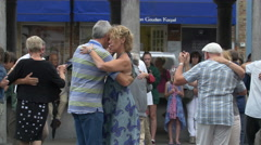 Beautiful view of couples dancing in Vismarkt, Bruges Stock Footage