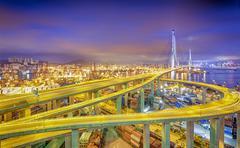 Hong kong modern city High speed traffic and blurred light trails Stock Photos