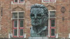 The statue of Frank Van Acker - former mayor of Bruges Stock Footage