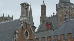 Lightning rods on the roofs and towers of Bruges Stock Footage