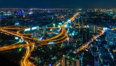 Time Lapse Night Cityscape Of Bangkok City, Thailand (tilt up) - stock footage