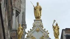 Gilded statues at the Palace of the Liberty in Bruges, - stock footage