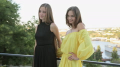 Beautiful girls posing at the party - stock footage