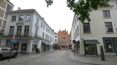 Walking on Burgstraat street cross to Philipstockstraat street, Bruges Stock Footage