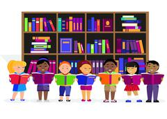 Other Children Read Books in Library - stock illustration