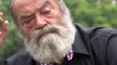 Old Man Beard Smoking Outdoors Unhealthy Stock Footage