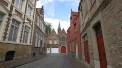 View of beautiful old buildings on Naaldenstraat, Bruges Stock Footage