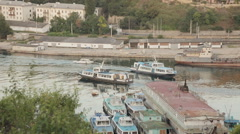 Passenger boats in the bay of Sevastopol Stock Footage