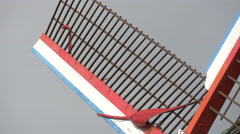 Close up view of one of Sint-Janshuismolen windmill's blades in Bruges Stock Footage