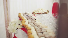 Colorful Wedding Table with all the goodies on display Stock Footage