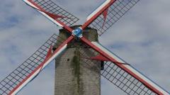 Sint-Janshuismolen windmill in Bruges Stock Footage